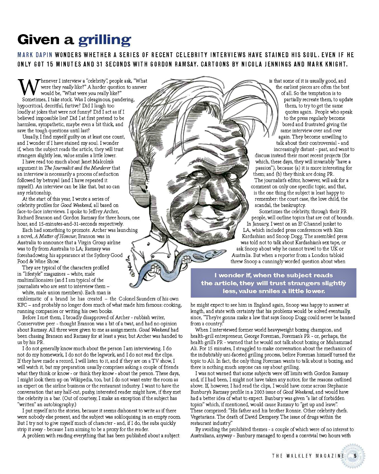 Walkley Magazine - Given a Grilling 1