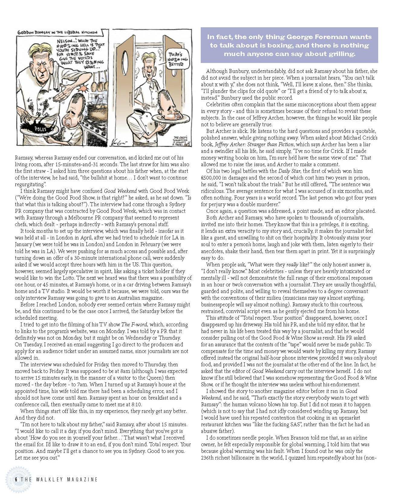 Walkley Magazine - Given a Grilling 2